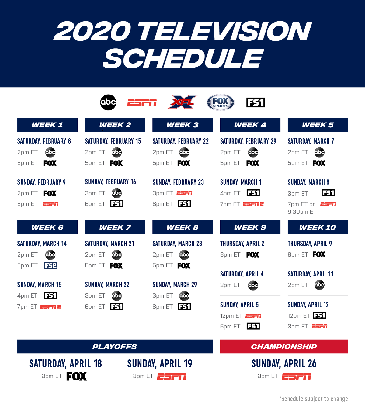 XFL Network Broadcast Schedule