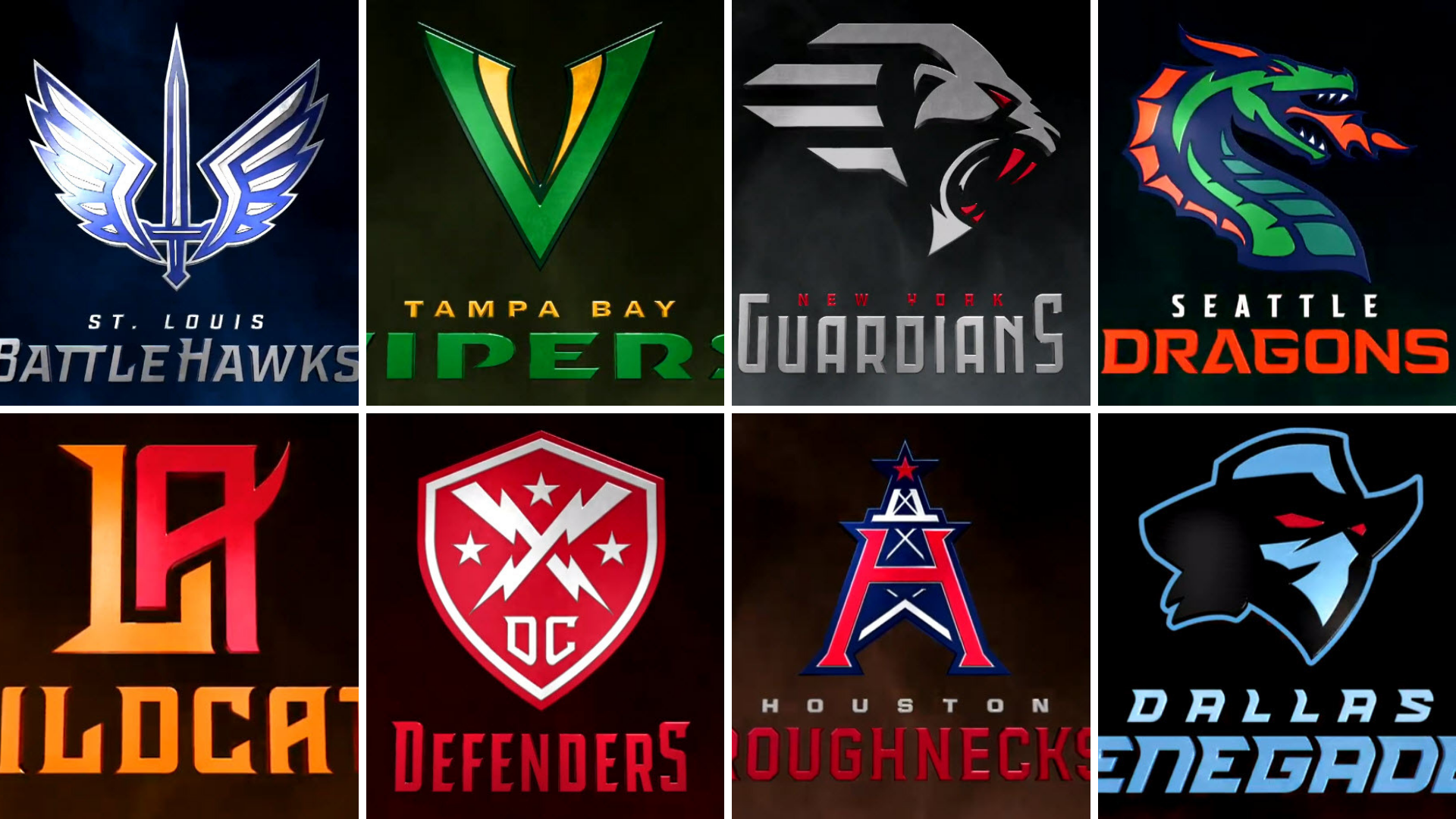 XFL unveils team names, logos for all 8 franchises
