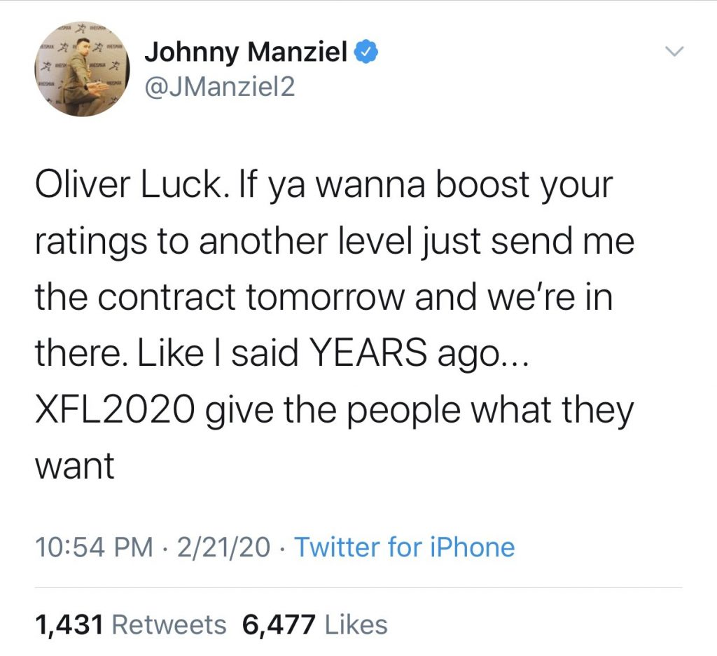 Johnny Manziel deletes Twitter account after expressing interest in joining XFL
